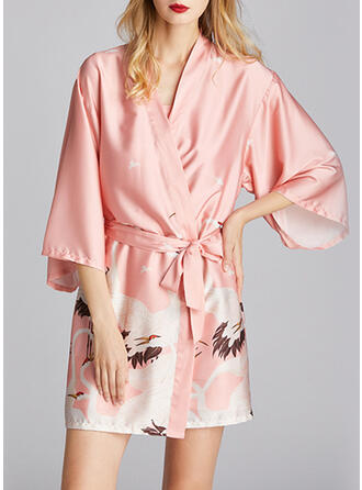 Polyester Print Floral Deep V Plus Size 3/4 Sleeves Robe