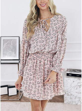 Print/Leopard Long Sleeves A-line Above Knee Casual Skater Dresses