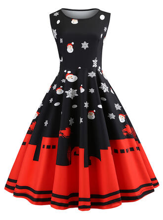 Print Sleeveless A-line Knee Length Vintage/Christmas/Party Skater Dresses