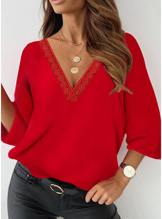 Solid Lace V-Neck 3/4 Sleeves T-shirts