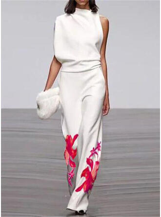 Floral Print Stand collar Sleeveless Casual Elegant Jumpsuit
