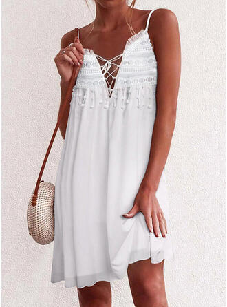 Lace/Solid/Tassel Sleeveless Shift Above Knee Casual/Vacation Slip Dresses