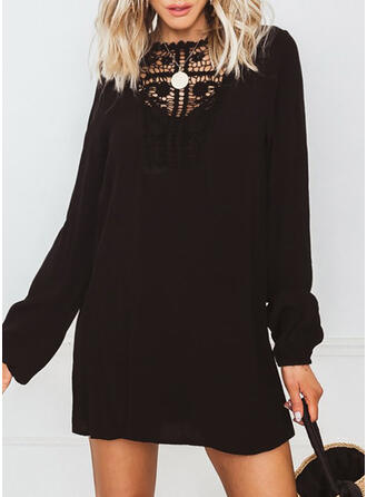Lace/Solid Long Sleeves Shift Above Knee Little Black/Casual Tunic Dresses