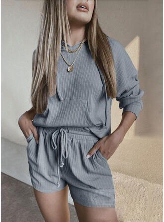 Solid Drawstring Casual Sporty Shorts Suits