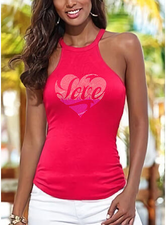 Figure Heart Sequins Round Neck Sleeveless Tank Tops