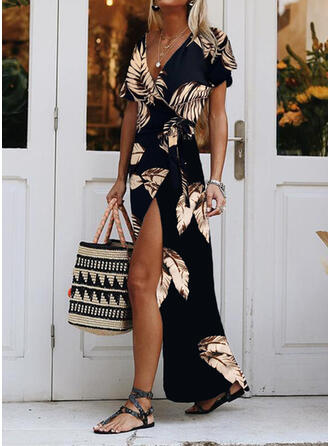 Print Short Sleeves A-line Wrap/Skater Casual/Vacation Maxi Dresses