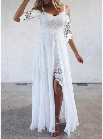 Lace/Solid 1/2 Sleeves A-line Asymmetrical Casual Skater Dresses