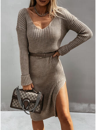 Solid Knit Long Sleeves Dropped Shoulder Sheath Knee Length Casual Sweater Dresses