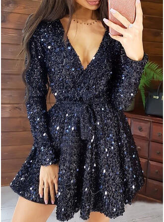 Sequins/Solid Long Sleeves A-line Above Knee Party Wrap/Skater Dresses