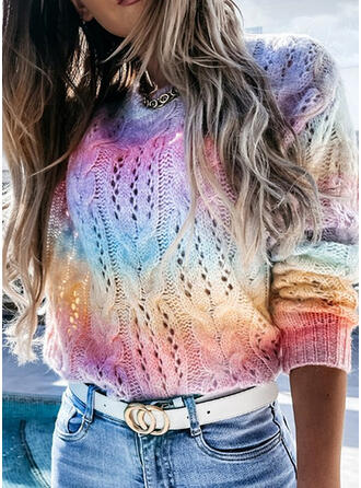 Tie Dye Round Neck Casual Sweaters