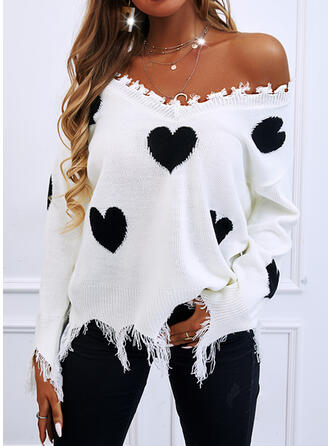 Print Heart V-Neck Casual Sweaters