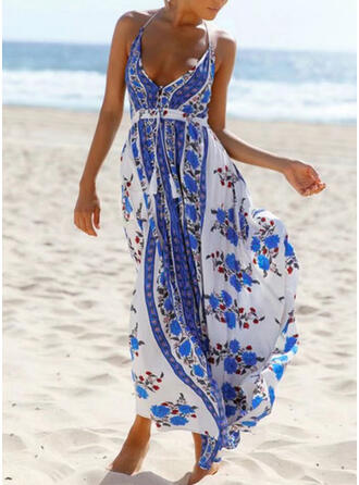 Print/Floral/Backless/Tassel Sleeveless A-line Skater Vacation Maxi Dresses