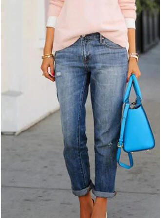Pockets Plus Size Ripped Long Sexy Solid Denim & Jeans