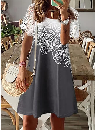 Lace/Print/Floral Short Sleeves Shift Above Knee Casual/Vacation Tunic Dresses