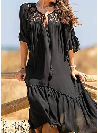 Lace/Solid Short Sleeves Shift Tunic Little Black/Casual/Vacation Midi Dresses