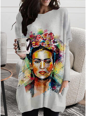 Floral Print Round Neck Long Sleeves T-shirts