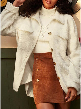 Long Sleeves Solid Wide-Waisted Coats