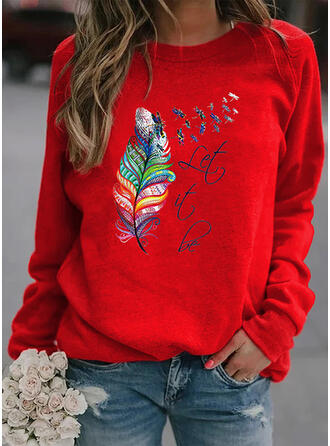 Print Letter Animal Feather Round Neck Long Sleeves Sweatshirt