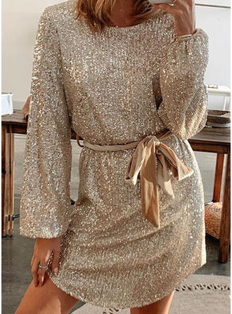 Sequins/Solid Long Sleeves Sheath Above Knee Party Dresses