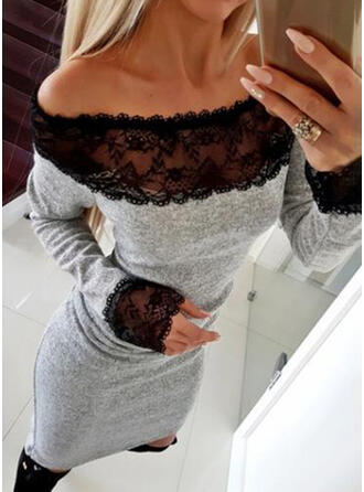 Lace Long Sleeves Bodycon Above Knee Little Black/Casual/Elegant Dresses
