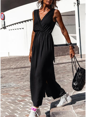 Solid/Backless Sleeveless A-line Skater Little Black/Casual Maxi Dresses