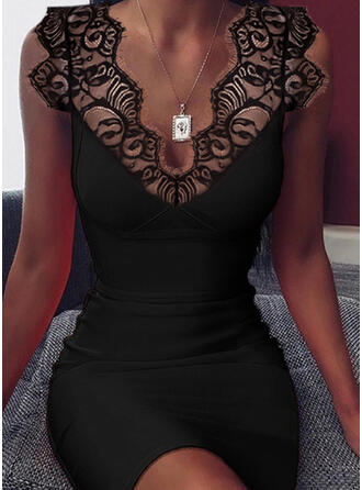Solid Sleeveless Bodycon Above Knee Little Black/Sexy Dresses