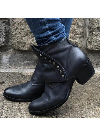 Women's PU Chunky Heel Boots With Rivet Solid Color shoes
