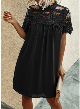 Lace/Solid Short Sleeves Shift Knee Length Little Black/Elegant Tunic Dresses