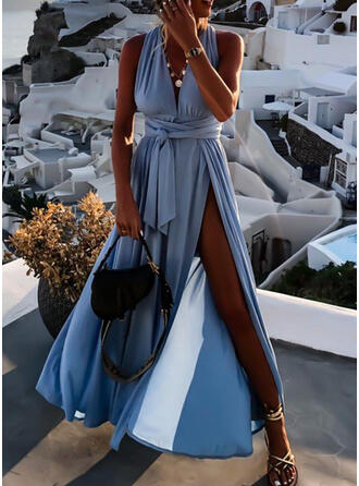 Solid/Backless Sleeveless A-line Skater Casual/Vacation Maxi Dresses