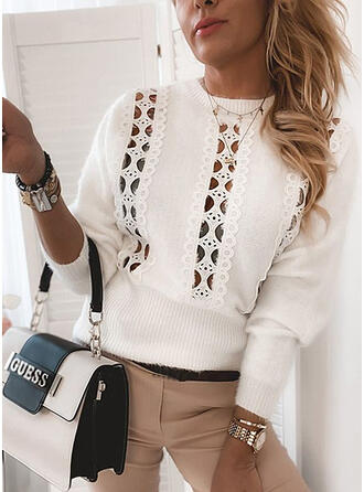 Solid Lace Hollow-out Round Neck Casual Sweaters