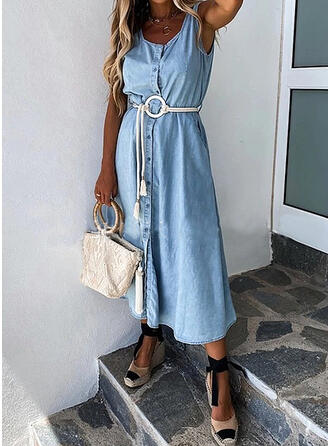 Solid Sleeveless A-line Skater Casual/Denim Midi Dresses