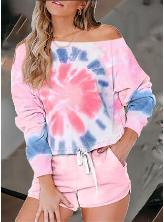 Print Drawstring Casual Sporty Shorts Suits