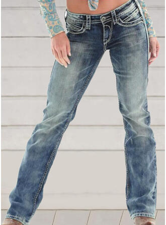 Embroidery Shirred Plus Size Long Elegant Skinny Denim & Jeans