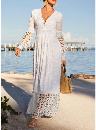 Solid Long Sleeves/Lantern Sleeve A-line Skater Casual/Vacation Maxi Dresses