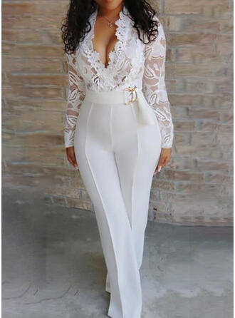 Lace Solid V-Neck Long Sleeves Elegant Sexy Jumpsuit