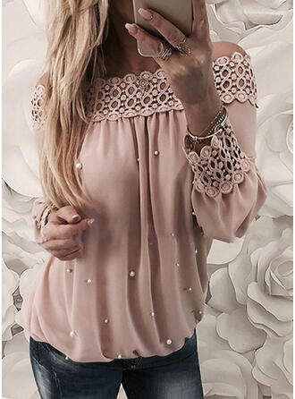 Solid Lace Beaded Off the Shoulder Long Sleeves Casual Elegant Blouses