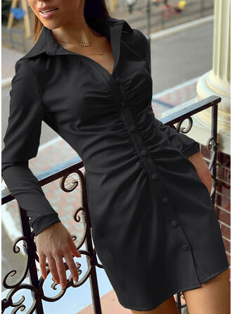 Solid Long Sleeves Bodycon Above Knee Little Black/Elegant Shirt Dresses