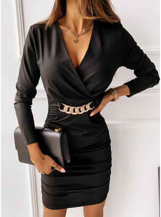 Solid Long Sleeves Bodycon Above Knee Little Black/Elegant Dresses
