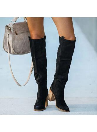 Women's PU Chunky Heel Over The Knee Boots Pointed Toe With Ruched Solid Color shoes