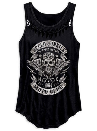 Figure Hollow-out Print Round Neck Sleeveless Tank Tops