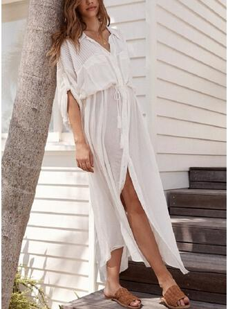 Cotton Solid Long Sleeves Cover Up
