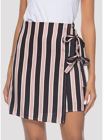 Cotton Striped Above Knee A-Line Skirts