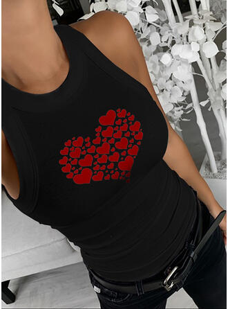 Print Heart Round Neck Sleeveless Casual Valentine's Day Tank Tops