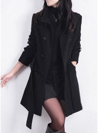 Cotton Blends Long Sleeves Plain Woolen Coats
