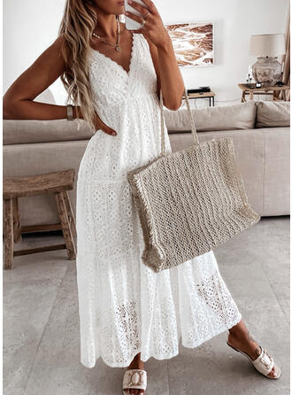 Lace/Solid Sleeveless A-line Slip/Skater Casual Maxi Dresses
