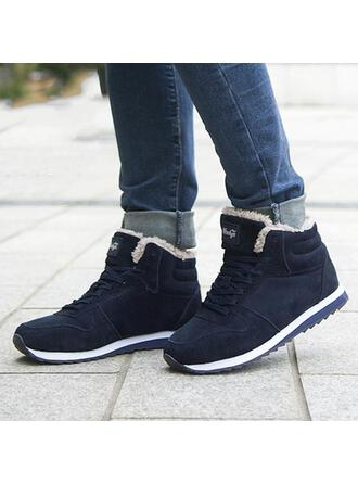 Women's Suede Flat Heel Boots Low Top Winter Boots With Lace-up Faux-Fur Splice Color shoes