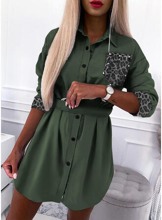Leopard/Beaded Long Sleeves Sheath Above Knee Casual Shirt Dresses