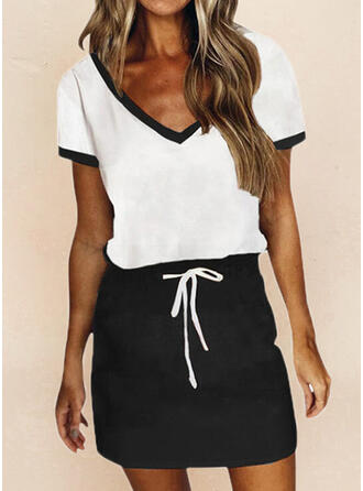 Color Block Short Sleeves Sheath Above Knee Casual Dresses