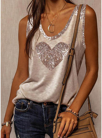Sequins Heart Round Neck Sleeveless Casual Tank Tops