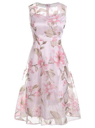 Print/Floral Sleeveless A-line Knee Length Party/Elegant Skater Dresses